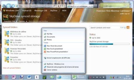 Espacio sincronizado de SkyDrive