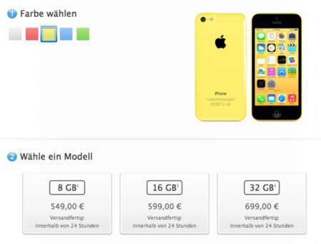 El iPhone 5C de 8GB ya está a la venta y es 50 euros más barato que el de 16GB