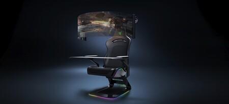 Razer imagina la silla 'gamer' del futuro con un OLED de 60 pulgadas que se desenrolla automáticamente: así es Project Brooklyn