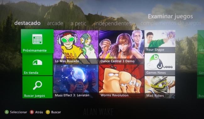 Sección de Juegos en Xbox Live