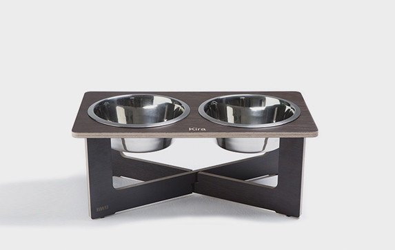 Hanniko Design Customize Dyre Dog Bowl Wood Rectangular Name Engrave Medium 1