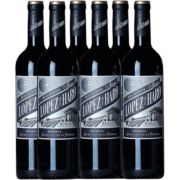 Una selección de seis botellas de vino tinto López de Haro, D.O. Rioja, Reserva Selección de la Familia. Perfecta para maridar con las cenas y comidas navideñas.