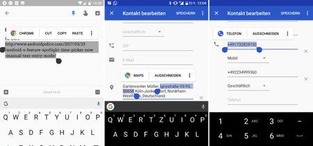 Android O muestra acciones contextuales en su selector de texto