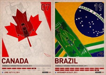 Pósters fórmula 1 - canada y brasil