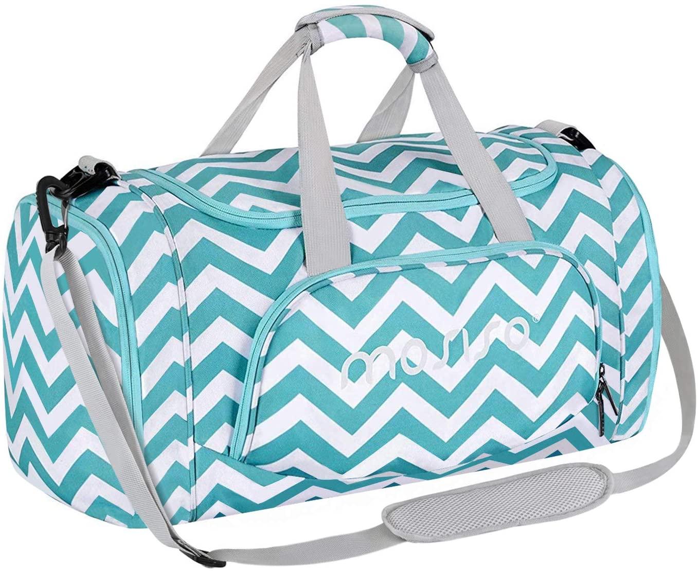 MOSISO Bolsas de Gimnasio con Compartimento Zapatos, Chevron Gym Hombro Bolso para Hombres/Mujeres Dance Travel Weekender,Caliente Azul