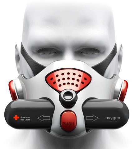 Mascarilla de oxígeno para evitar inhalar humo