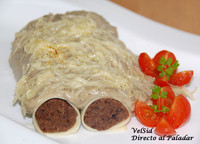 Canelones de soja con bechamel de berenjena