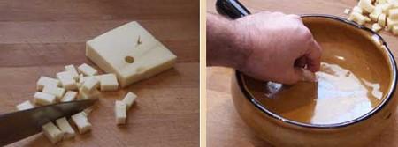 Receta de fondue de queso suiza, pasos1