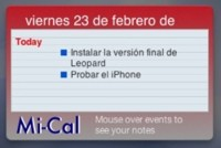 Mi-Cal: Tus próximos eventos de iCal, en Dashboard