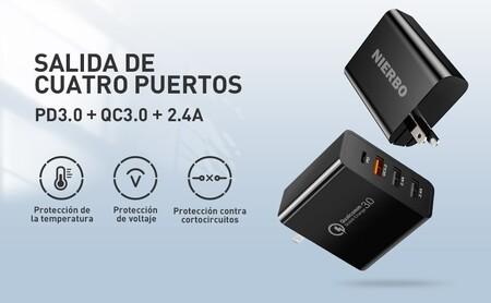 Cargador de carca rápida con USB-C y USB 3.0 para iPhone y celulares