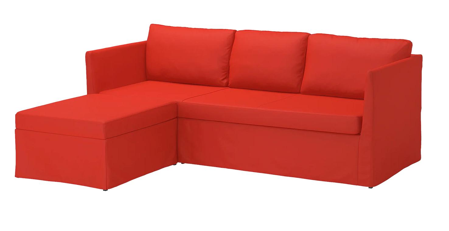 Sofá 3 plazas esquina, Vissle rojo/naranja