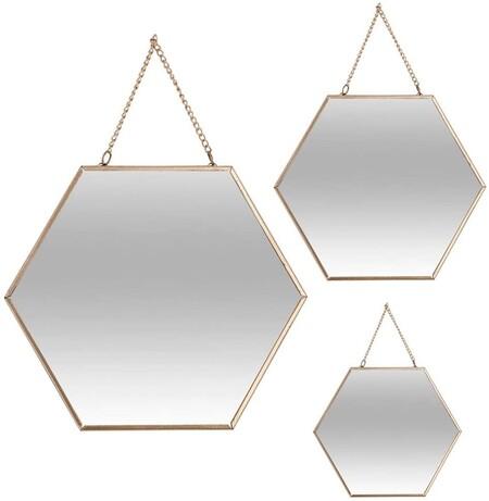 Conjunto De 3 Espejos Hexagonales En Tonos Dorados