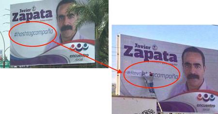#HashtagCampaña: el cartel electoral que empezó siendo un error y se convirtió en el épico eslogan real del candidato