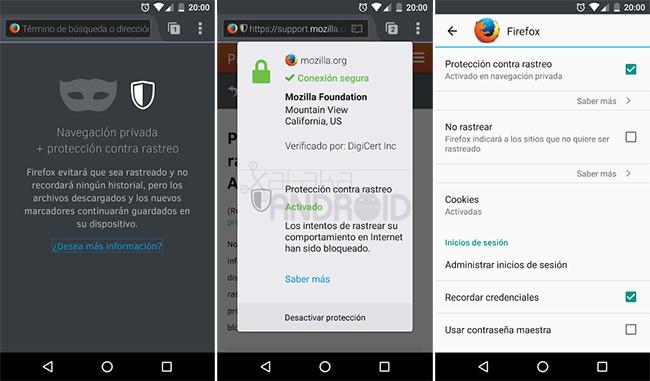 Firefox Protección Contra Rastreo