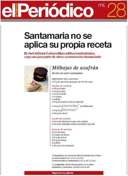 Santamaría utiliza aditivos industriales