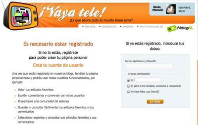 Registrarse en ¡Vaya Tele!, mucho más fácil y rápido