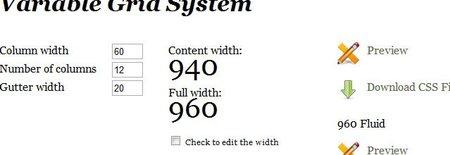 Panel de configuración de un custom CSS en 960.gs
