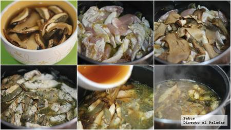 paso a paso pollo con hongos