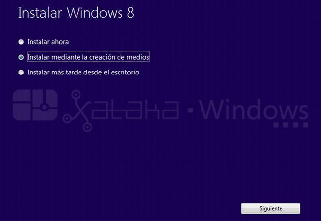 Actualización a Windows 8 Pro, selección de instalación