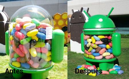 El antes y después de la figura Jelly Bean