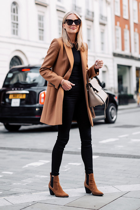 Fashion Jackson Zara Camel Coat Black Sweater Black Skinny Jeans Tan Booties Outfit