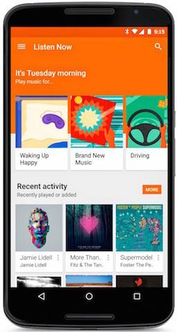Google actualiza Play Music con Material Design e integración con Songza