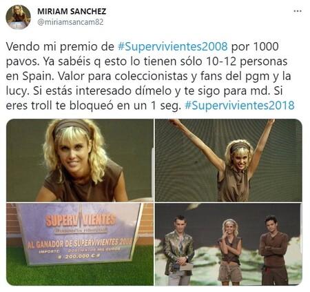 Tuit Miriam Sanchez Vende Titulo Supervivientes