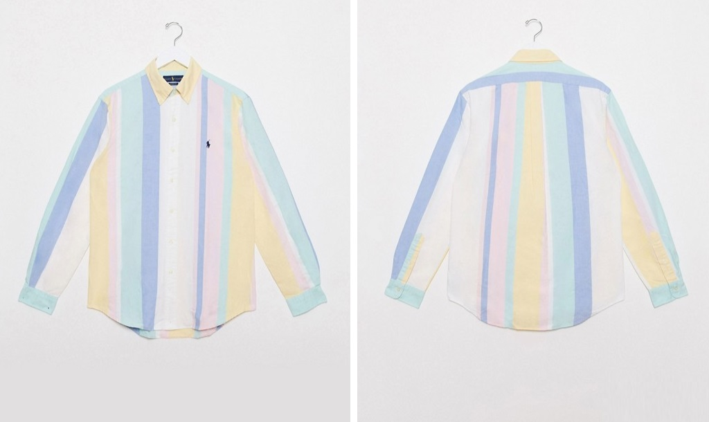 Camisa de rayas en tonos pastel de Ralph Lauren x Asos
