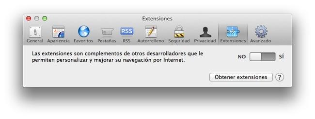 Extensiones Safari