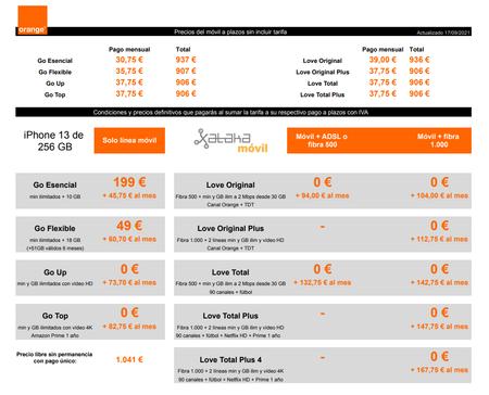 Precios Iphone 13 De 256 Gb Con Pago A Plazos Y Tarifas Orange