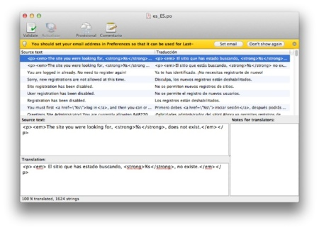 PoEdit, edición de archivos .po y .mo desde OS X