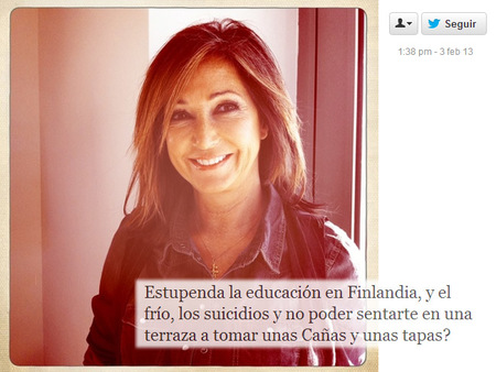 Ana Rosa Quintana, el sistema educativo finlandés y Twitter