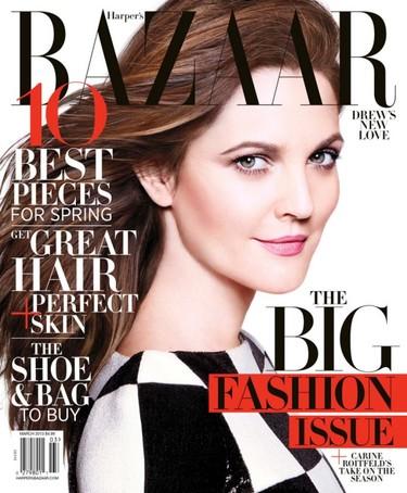 Drew Barrymore, sereno e imponente bellezón en Harper's Bazaar