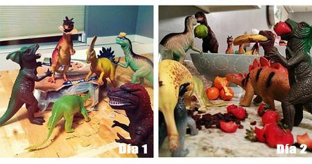 Unos padres demuestran a sus hijos que sus dinosaurios cobran vida por la noche