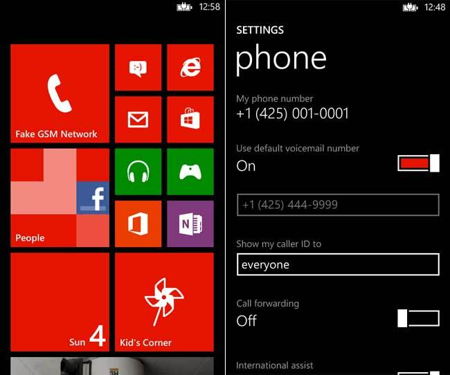 Windows Phone Emulador Home