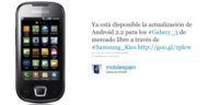 Samsung Galaxy 3 se actualiza a Android 2.2