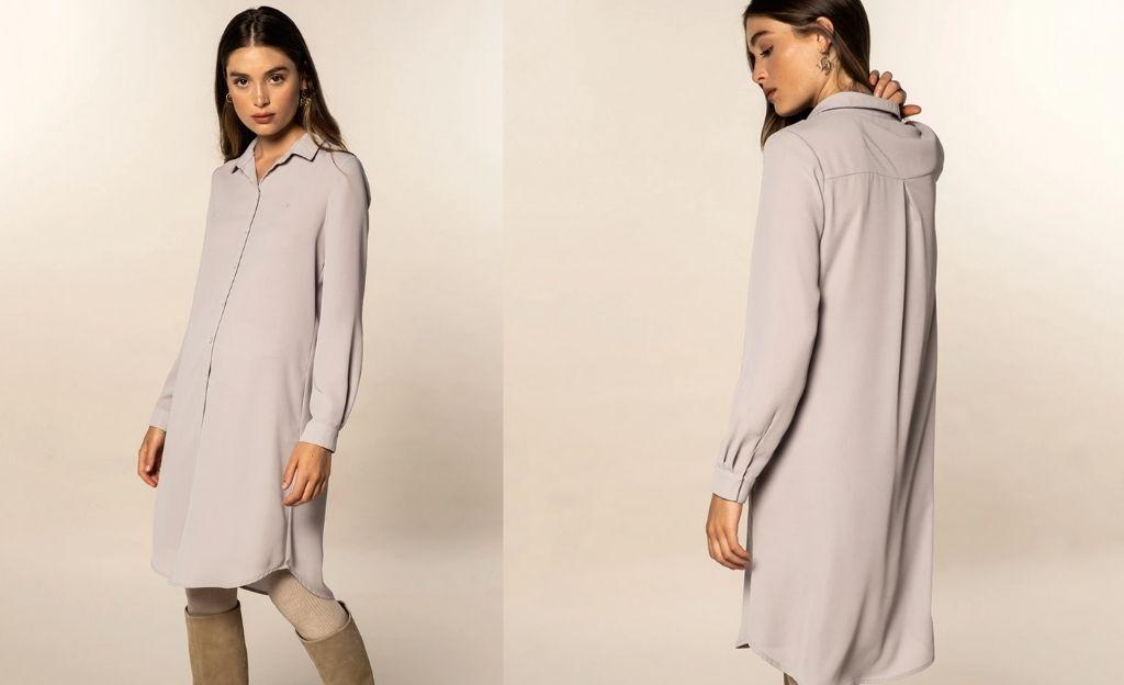 Vestido de mujer liso y manga larga