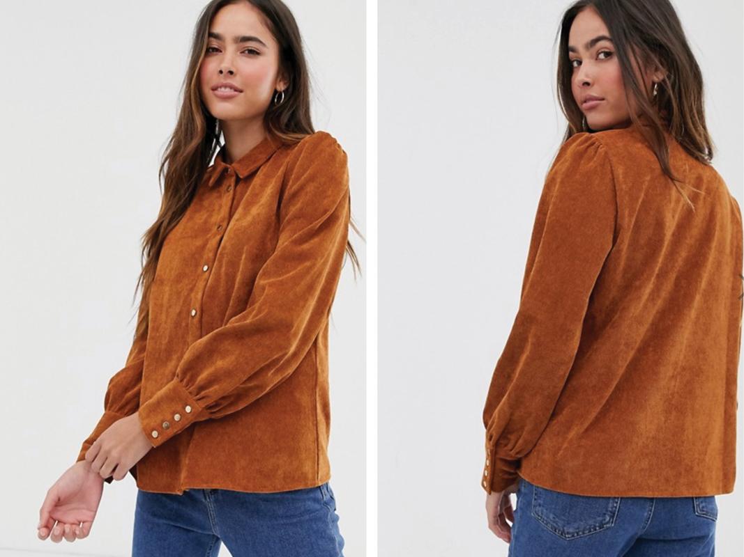 Camisa estilo western de pana marrón de Vila