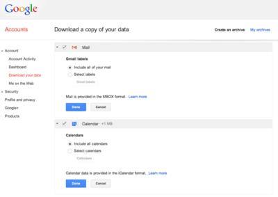 Descárgate una copia de tus correos de Gmail y tus eventos de Google Calendar