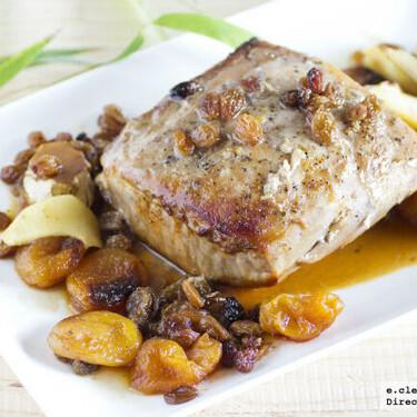 Receta agridulce de asado de cerdo con frutas secas y jengibre