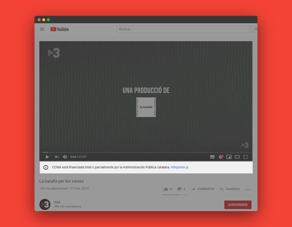 YouTube empieza a mostrar avisos bajo los vídeos de medios que son financiados por la Administración Pública