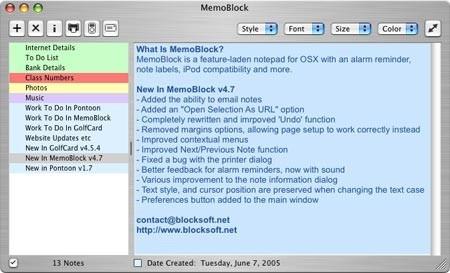 Memoblock, bloc de notas para OS X