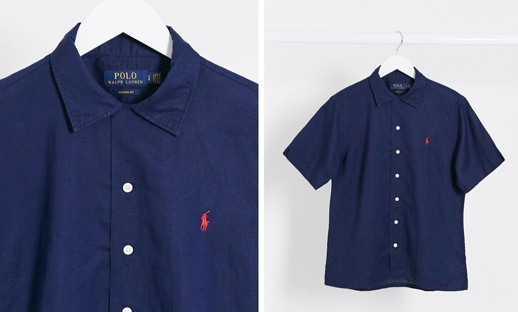 Camisa azul marino de manga corta de mezcla de lino de Polo Ralph Lauren