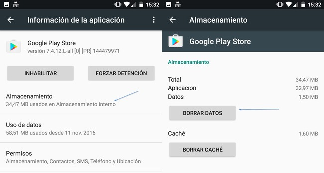 Borrar Datos Google Play Store
