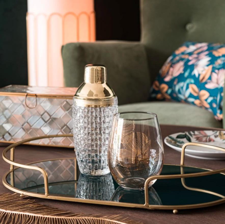 Vaso de cristal con impresión dorada Floral