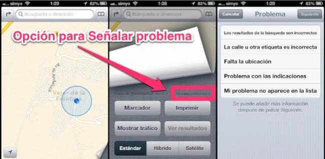 Señalar problemas en Mapas de iOS 6