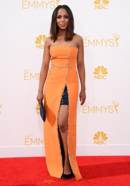 Kerry Washington, y su Prada naranja en los #Emmys2014
