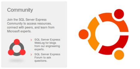 SQL Express Community logo vs Ubuntu logo