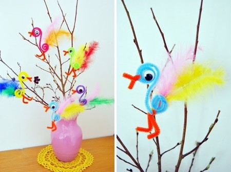 Hazlo tú mismo: pájaros decorativos con flex espaguetis