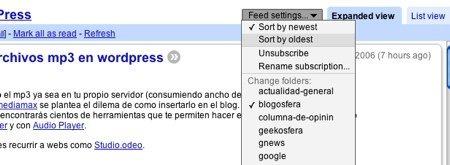 Orden cronológico inverso ya disponible para Google Reader